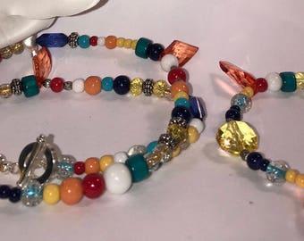 Womens Tropical Teal Boho Necklace & Bracelet Set Gift for her
