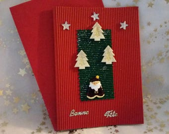 """Double card red corrugated and sheet and envelope handmade """"Tree"""""""