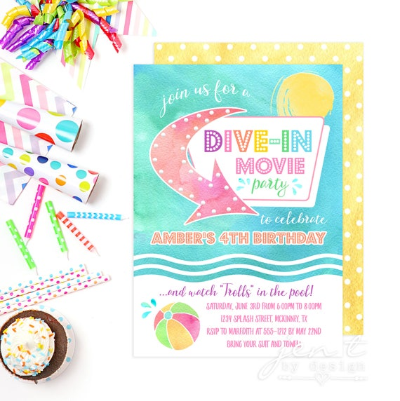 Dive in movie invites dive in movie party summer party - Dive in movie ...