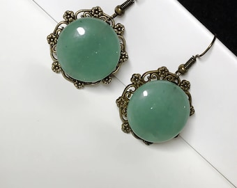 Hand-made Green Onyx Drop Earring