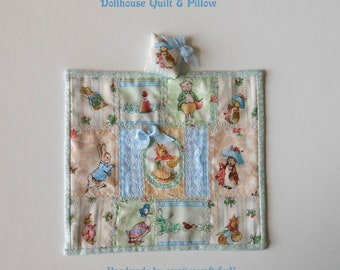 Beatrix Potter Peter Rabbit Patchwork Crazy Quilt & Pillow, Dollhouse Bedding Set, So Sweet, Handmade OOAK 1/12th Scale