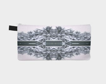 Teal and White Abstract Photo on Pencil Case Men's Toiletry Case Ladies Make-Up Pouch Carry All Case Perfect Gift Idea