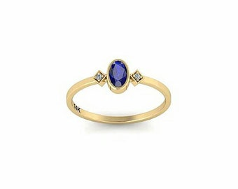 Sapphire diamond ring, blue sapphire engagement ring, September birthstone ring, sapphire gold engagement ring, 14k gold sapphire ring, Gift