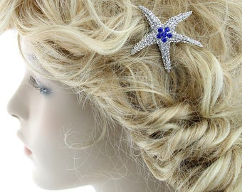 Something Blue Bridal Comb, Sapphire Blue Crystal Starfish Hair Clip, Beach Wedding Hair Accessory, Royal Blue Bridesmaid Hairpiece Gift