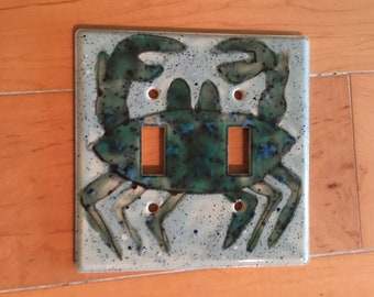Ceramic Crystal Glazed Double Switch Plate Crab