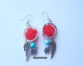 Festival Earrings Feather Angel wings Rose earrings Turquoise Earrings Silver Dangle Earrings Weddings Prom Bridesmaids earrings Statement