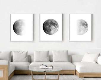 Moon Phases Print Set of 3 Black and White Wall Art Minimalist Poster Scandinavian art Large Lunar Art Prints Triptych Moon Art Night Sky