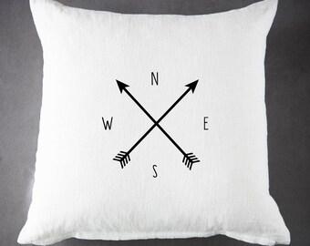 Compass, Throw Pillow, Pillow Cover, Farmhouse Pillow, Home Decor, Gift, Housewarming Gift, Pillow