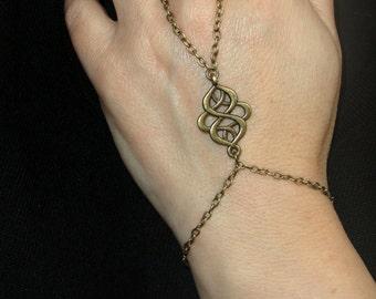 Slave bracelet, Antique bronze slave bracelet ring, Bronze hand bracelet, Bohemian hand jewelry, Bronze bracelet ring, Finger bracelet