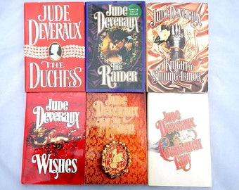 Jude Deveraux Vintage Set of Six Hardcover Romance Novels With Dustcovers