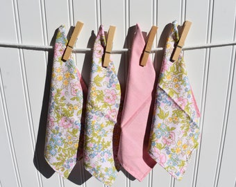 """Set of 4 2 ply Cotton 8"""" Everyday Cloth Napkins Sweet Floral Print"""