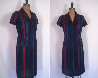 vintage 1940s 1950s navy striped day dress • 40s 50s ink blue short sleeve shirt dress
