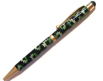 Touch screen Stylus ink pen Southwest Blanket green Millefiori polymer clay design nbr30