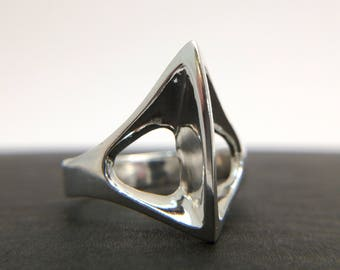 Battle Axe Ring.  Brutalist Jewelry Sterling silver.  Handmade. Unisex
