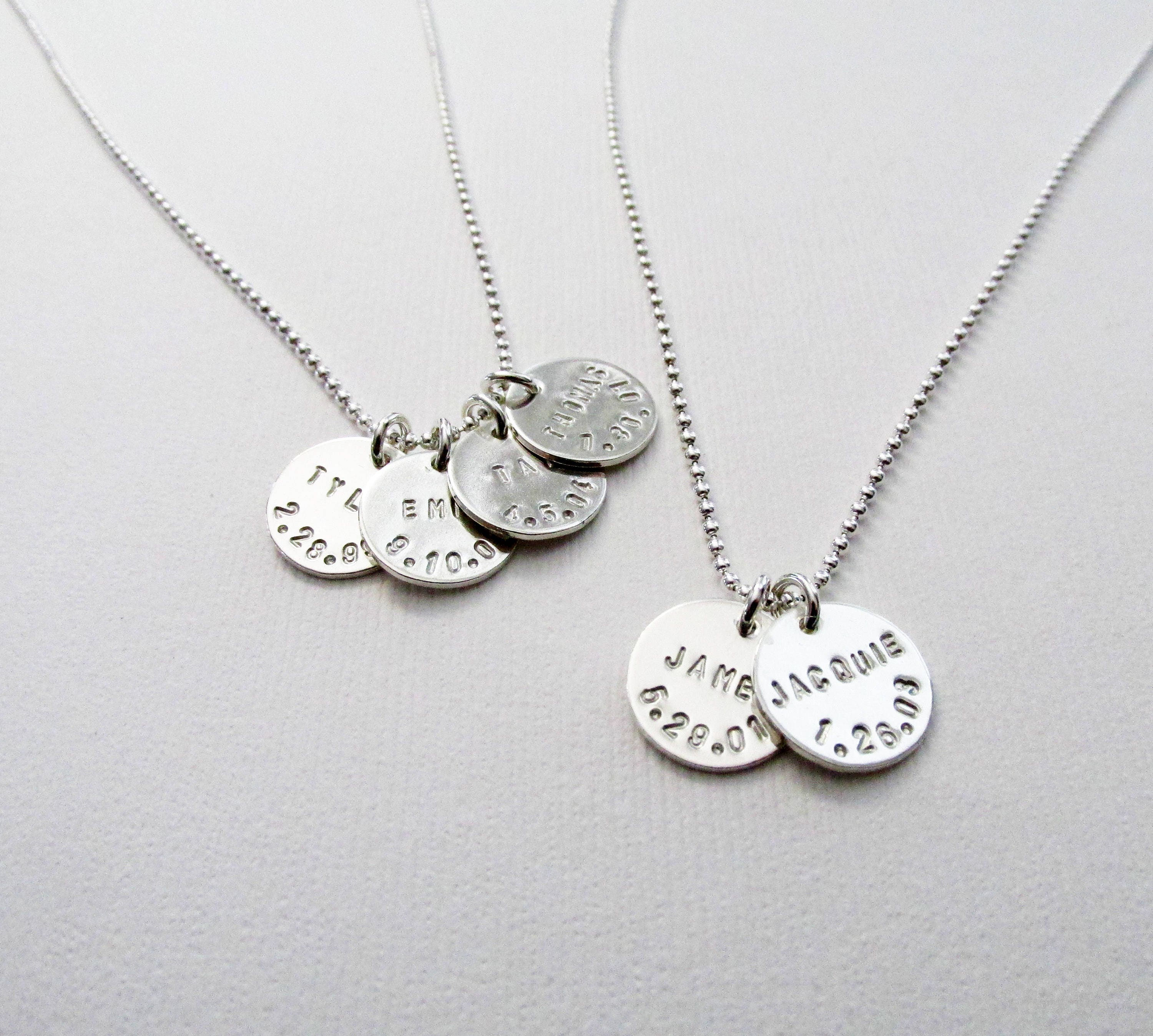 names products engraved necklace birthdate a on mercury name and dime silver pendant