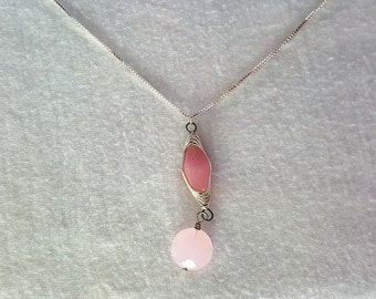 Pink Fishtail Wire Wrapped Drop Necklace