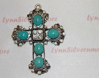 2 pcs per pack 65x47mm Rhinestones Cross Turquoise  Pendant Antique Silver Lead Free Pewter