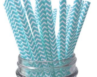 Light Blue Chevron Paper Straws - 25pc