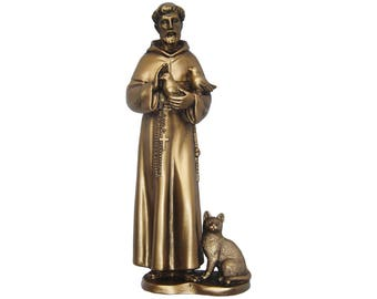 Saint St. Francis of Assisi with cat resin statue San Francisco de Asís