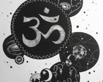 Original Lithograph -- God is a hyperdimensional being / science art / spirituality art / religion art / fine art lithography