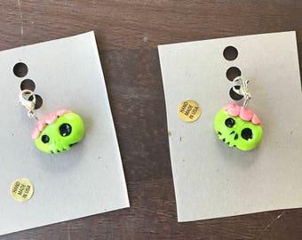 Zombie Charm, Zombie Charm Necklace, Zombie Necklace, Zombie Jewelry, Zombie Keychain, Zombie, Brains, Charm, Necklace, Key Chain, Zombie