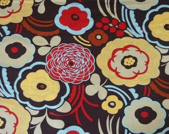 SALE FABRIC - Mocca Fabric - Alexander Henry Fabric - 100% Cotton Fabric - Brown, Red, Yellow and Blue Floral Fabric, Mocca in Brown
