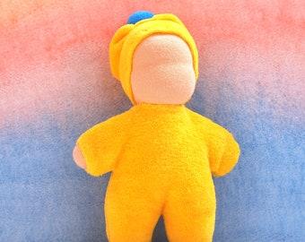 """Waldorf inspired small baby doll 6"""" Rag yellow doll Waldorf doll baby Waldorf first doll Steiner doll Pocket dolls Cuddle Dolls German Dolls"""