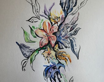 Dreaming of Spring Flowers Watercolor Painting