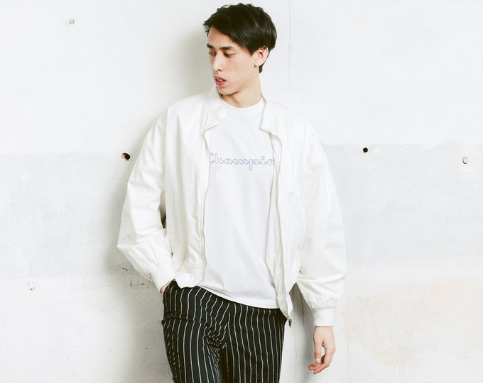 White 90s Bomber Jacket . Vintage Men's Jacket Zip Up Jacket Outerwear Boyfriend Gift Hipster Outfit . size Extra Large XL