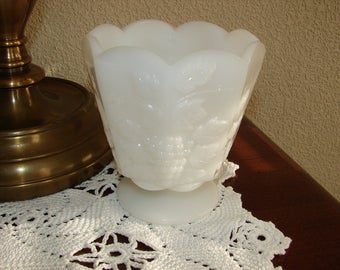 Milk Glass Vase by Brody, Grapes, Pressed Glass, Vintage Glass, Pedestal, Footed, MU-20, 2250, Wedding, French Cottage, Cottage