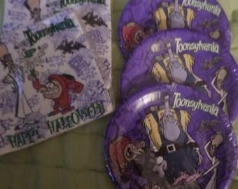 Toonsylvania Party plates napkins Tablecloth birthday Halloween NIP Very rare Any party 1996 Lot Monsters purple
