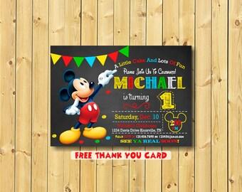 Mickey Mouse Invitation,  Mickey, Invitation, Mickey Invitation, Mickey Mouse Invitation Printable, 1st birthday, free thank you card