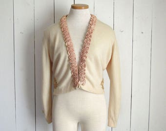Cashmere Cardigan Sweater 50s Hollywood Glamour Vintage Cream Floral Rockabilly Sweater Maurice Bruder Medium M