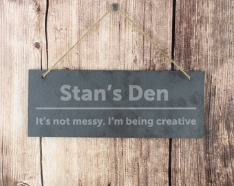 Slate Door Sign - Bold Type - Personalised in the UK