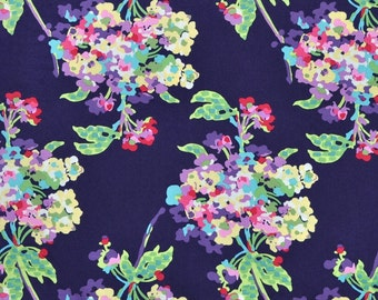 Amy Butler Love Water Bouquet Midnight Navy Blue Fabric - Amy Butler Fabric by the Yard - Spring Floral Fabric - Watercolor Floral