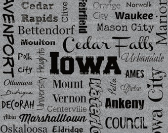 Iowa Cities fabric - Fat Quarter - yellow and black - grey and black