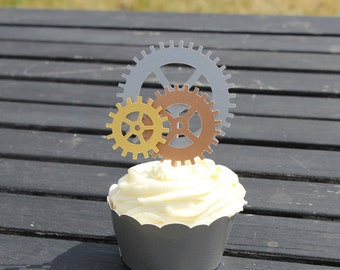 12 Steampunk Party Supplies cupcake toppers pics decor Wedding cake favor gears Steam Punk Baby Shower Bridal birthday