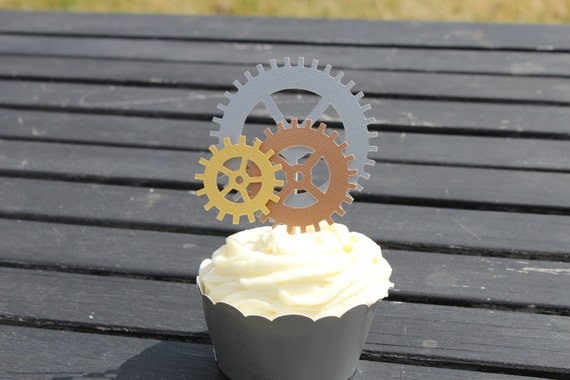 12 Steampunk cupcake toppers