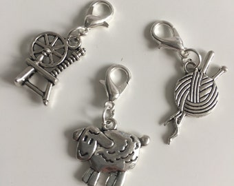 Wool themed stitch markers or progress keepers Spinning wheel, sheep and yarn / needles (set if 3)