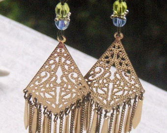 The Traveling Gypsy Carnival Earrings. Crystal and fringe  Upcycled antique revival earrings