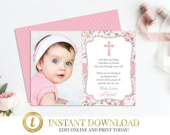 Purple Baptism Thank You Card Christening Thank You Card