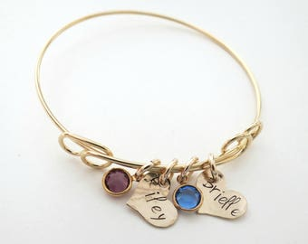 Personalized Mothers Bracelet - Personalized Jewelry - Birthstone Bracelet - Kids Names - Grandma - Son - Daughter - Family - Gold Heart