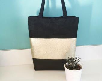 Black and gold Tote handbag