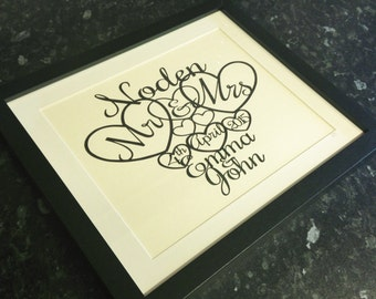 Personalised Wedding Hearts Paper Cutting Template - Personal And Commercial Use