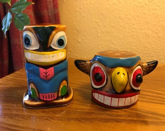Vintage TIKI Totem Salt and Pepper Shakers
