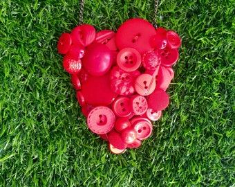 Red Button Necklace, Retro, Vintage Button Necklace, Colourful Statement Necklace