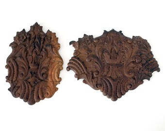 Carved Wood Architectural Salvage, Antique Brazilian Furniture Fragment, Bas Relief Flowered Pieces, Boho Rustic Decor, Vintage Wall Hanging