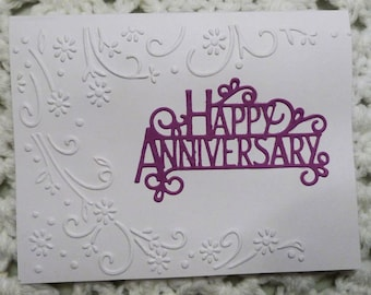 Happy Anniversary Greeting Card, Embossed Handmade Card, White with Purple Card, Made in the USA, #378