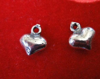 2 pc. 925 sterling silver oxidized puffy heart  charm 1 pc., small heart charm, silver heart charm, heart