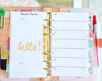 Personal Inserts Week On 2 Pages Personal TN Printable Weekly Planner Filofax Personal Planner Pages Weekly Personal PDF. Instant Dowload